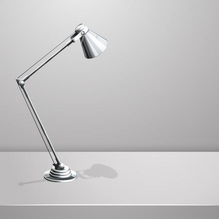 Bureaulamp op tafel. Witte lege vector achtergrond. Object en apparatuur, elektriciteit schijnwerper, vector illustratie