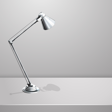 fluorescent lamp: Desk lamp on table. White empty vector background. Object and equipment, electricity spotlight, vector illustration Illustration
