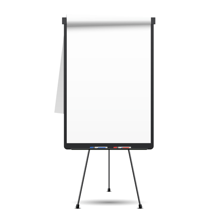 Blank flip chart. Whiteboard and empty paper, presentation and  seminar, vector illustration