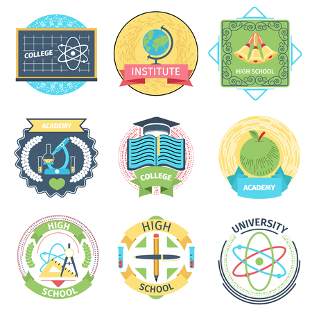 Education icon: Color retro high school, university and academy logos set. College and microscope, bell and apple. Vector illustration
