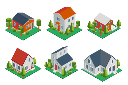 homes exterior: Isometric 3d private house, rural buildings and cottages icons set. Architecture real estate, property and home, vector illustration