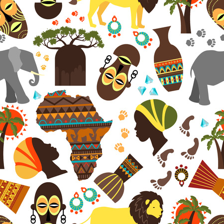 Africa seamless pattern. Baobab and nationality tribe mask, aborigine and track, fauna and flora, elephant and lion, vector illustration