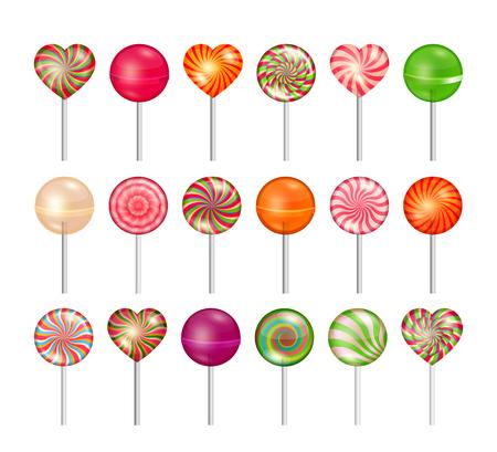 ロリポップはベクター セットです。お菓子のイラスト、甘い食べ物デザート、スティックにキャラメル  イラスト・ベクター素材