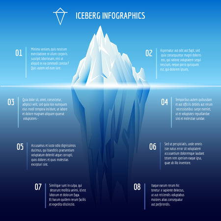Iceberg infographics. Structure design, ice and water, sea vector illustration