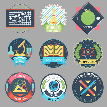 science text: Color vintage school emblems vector set. Design badge label, microscope and globe, bell and chalkboard illustration