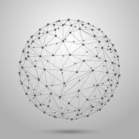 pelota: Wireframe 3D malla vector esfera poligonal. L�nea de red, dise�o esfera, punto y la estructura de la ilustraci�n