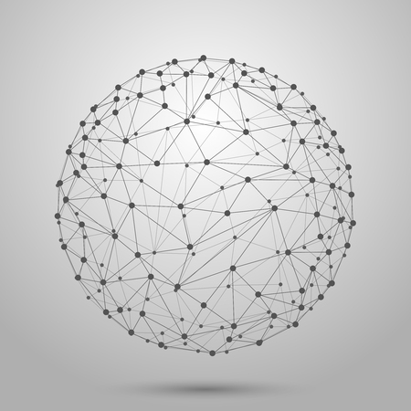 networks: Wireframe 3D mesh polygonal vector sphere. Network line, design sphere, dot and structure illustration