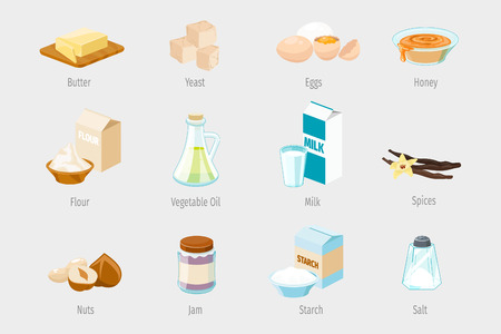 ingredients: Baking ingredients in cartoon style. Set of vector food icons. Vegetable oil, flour and honey, jam and nuts, spices and sugar illustration