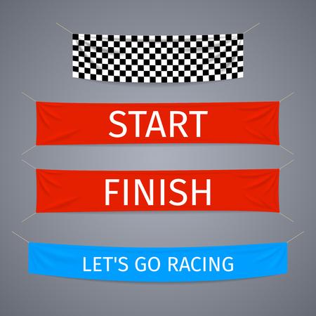 開始日と終了繊維バナー ベクトルを設定します。フラグ スポーツ レース、仕上げ、勝者成功図競争