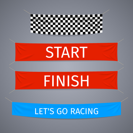 Start and finish textile banners vector set. Flag sport race, competition finishing, winner success illustration
