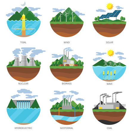 to plant: Generation energy types. Power plant icons vector set. Renewable alternative, solar and tidal, wind and geotermal, biomass and wave illustration