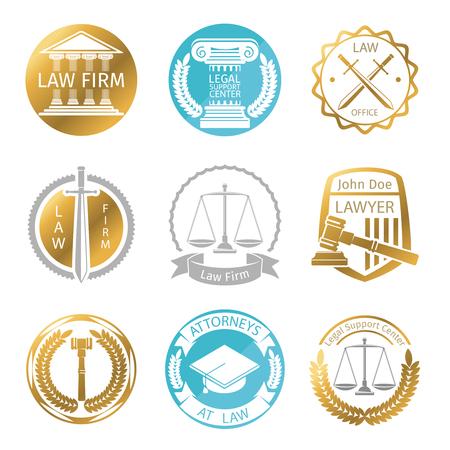 firme: Oficina Ley logotipo conjunto de vectores. Plantillas de etiquetas bufete de abogados. La justicia de la empresa, ilustración abogado Vectores