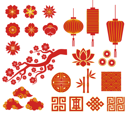 중국 새 해, 중국어, 한국어, 일본 장식 벡터 아이콘 일러스트