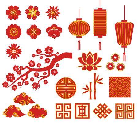 nowy: Chiński, koreański lub Japonia ikony dekoracyjne wektora dla chińskiego Nowego Roku