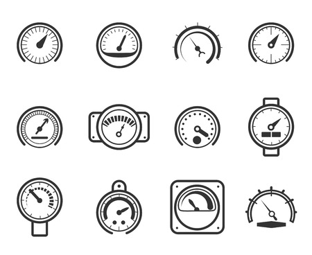 level: Speedometers, manometers, tachometers and barometers in linear design style. Vector meter icons set. Indicator and measurement, meter and power, level gauge illustration