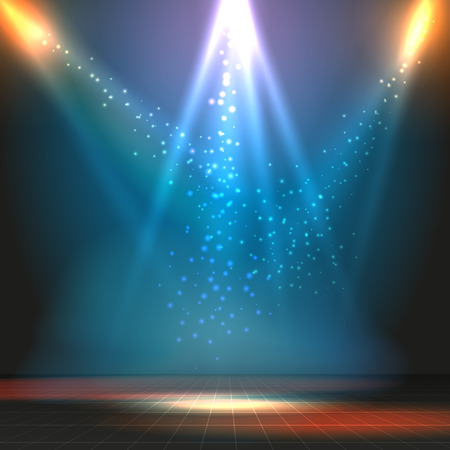 Show or dance floor vector background with spotlights. Party or concert, stage and floor illustration