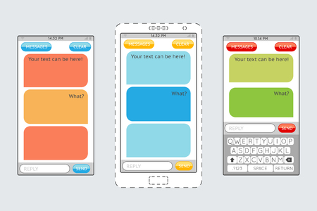 messaging: Message boxes for messaging on mobile phones vector template. Chatting internet, chat web communication illustration