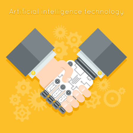 jointly: Artificial intelligence. Businessman and robot handshake. Futuristic cyborg, machine technology, robotic and human hand. Vector illustration