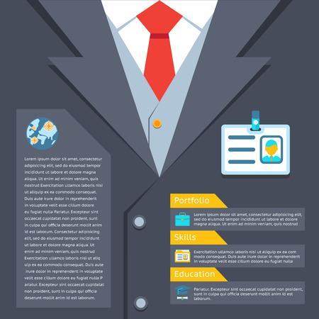 summary: Business suit summary concept. Portfolio and education, professional skill, vector illustration Illustration