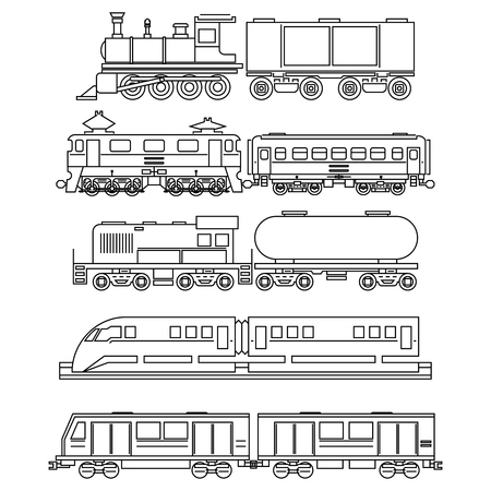 black train: Line art train icons. Transportation and travel, vehicle sign, traffic vector illustration