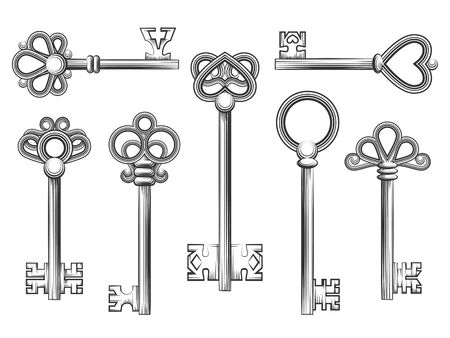 antique keys: Vintage key vector set in engraving style. Antique collection retro security design illustration