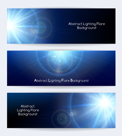 Abstract lighting flare vector banners. Ray and poster or card, starburst light, vector illustration