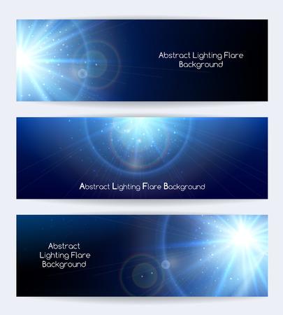 Résumé éclairage flare vecteur bannières. Ray et affiche ou carte, lumière starburst, illustration vectorielle