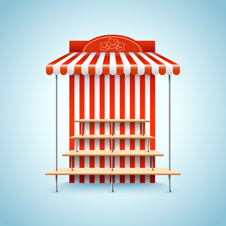 to sell: Flower stand. Market stand kiosk shop, retail sell, vector illustration