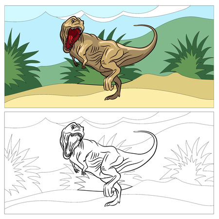 dinosaurio: Dinosaurio para colorear. reptil animal, dino prehist�ricos, arte dibujo, ilustraci�n vectorial Vectores
