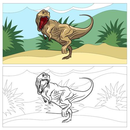 Dinosaur for coloring book. Animal reptile, prehistoric dino, drawing art, vector illustration