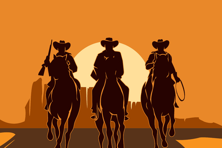 riding: Cowboys riding horses in desert. Freedom man silhouette, sun and landscape, people american. Vector illustration