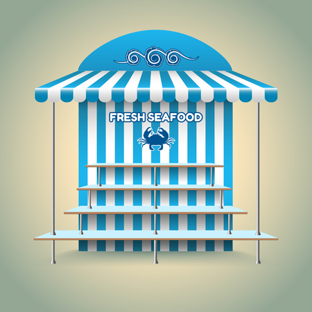 food shop: Sea food stand. Kiosk and shop, retail and fish, fresh nutrition. Vector illustration