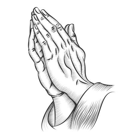 Manos de rogación. Religión y santo católico o cristiano, creencia espiritualidad y esperanza. Ilustración vectorial