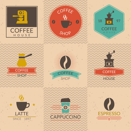 coffee beans background: Coffee shop badges. Shop label, cafe and cup, retro vintage espresso banner, vector illustration