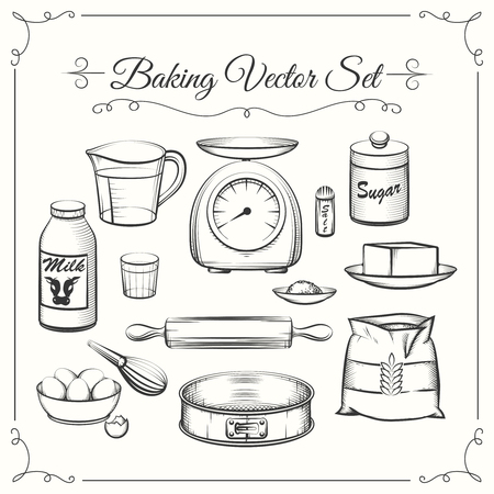 Baking food ingredients and kitchen tools in hand drawn vector style. Food cooking pastry, sieve and scales, flour and sugar illustration Vectores