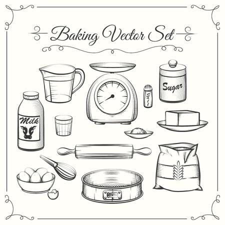 mantequilla: Ingredientes de la hornada de los alimentos y utensilios de cocina en la mano dibujada vector del estilo. Alimentos cocinar pasteles, criba y escalas, la harina y la ilustraci�n de az�car Vectores