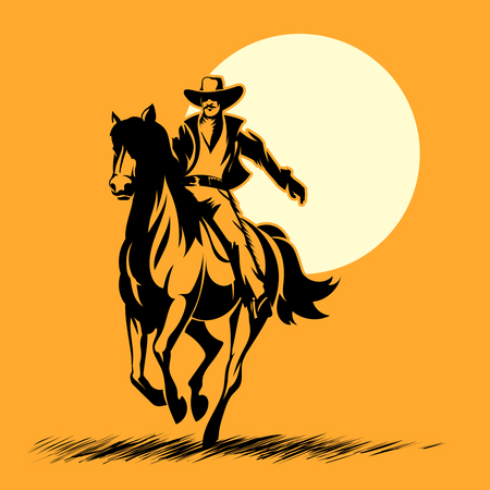 rancher: Wild west hero, cowboy silhouette riding horse at sunset. Mustang and person outdoor, horse vector illustration