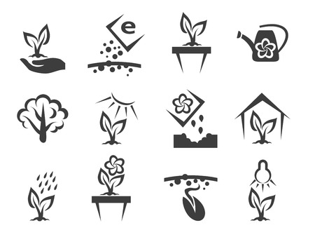 cultivation: Plant and sprout growing vector icons set. Nature and grow,  growth and ecology, cultivation organic illustration