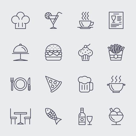 レストラン行アイコン ベクトルを設定します。ピザ、アイスクリーム、カップケーキ、ハンバーガー、食品イラスト  イラスト・ベクター素材