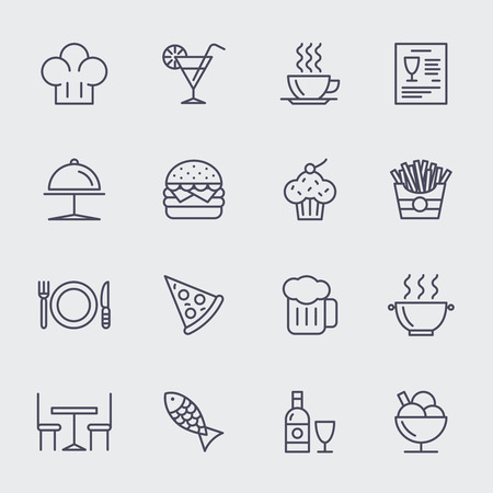 pizza: Restaurant line icons vector set. Pizza and ice cream, cupcake and hamburger, food illustration