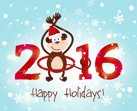 the tail: Happy New Year 2016. Monkey tail twist around number 2016