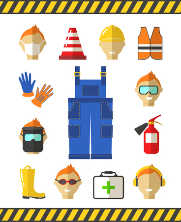 safety at work: Safety at work. Job safety flat icons. Protective equipment. Headphones and rubber boots, overalls uniform, vector illustration
