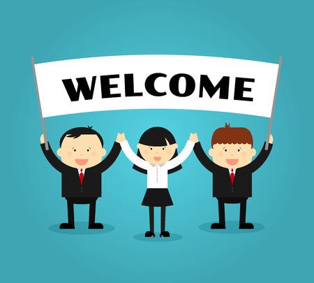 bienvenida: Los hombres de negocios que sostienen el cartel de bienvenida. Las personas con la bandera o cartel, mostrando promoción. ilustración vectorial