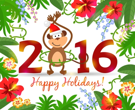 an island tradition: Year of monkey 2016. Tropical background with flowers and leaves for a warm New Year. Vector Illustration Illustration