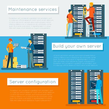 mantenimiento: Centro de datos y de alojamiento pancartas conjunto de vectores. Base de datos de Internet de red, configuración y mantenimiento, construcción de ilustración servidor Vectores