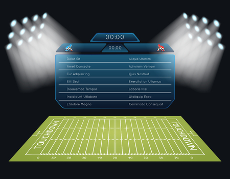 Realistic vector american football field with scoreboard. Touchdown, rugby sport, game and stadium, championship competition illustration