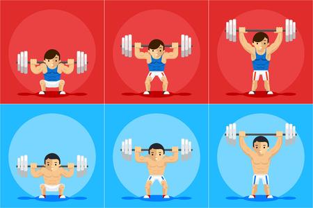 重量挙げアニメーション フレーム。スポーツ トレーニング、バーベルと強さ、順序とマニュアル、ベクトル イラスト