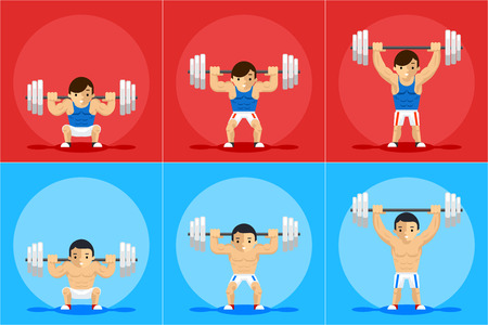 Weightlifting animation frames. Sport training, barbell and strength, order and manual, vector illustration 向量圖像