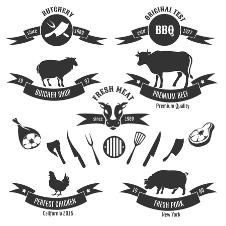 Vintage butchery shop vector labels. Retro grill BBQ badges. Meat logos vector set. Chicken and animal, cow and beef, steak fresh food illustration
