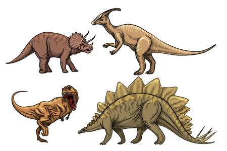 triceratops: Dinosaurs characters set. Predator tyrannosaurus, triceratops and velociraptor, vector illustration Illustration